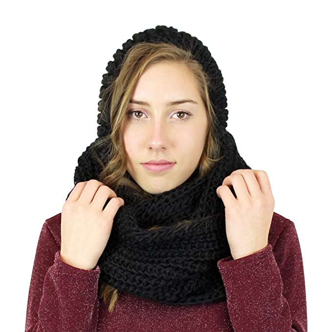 Hooded Infinity Scarf With Pom Pom Black At Amazon Womens Clothing