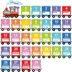 32 Sheets Number Bulletin Board Set Numbers Wall Classroom Decorations Train Bulletin Board Cards Numbered 0-29 with 3 Sheets Adhesive Dots for Playroom Bedroom Nursery Room Decorations