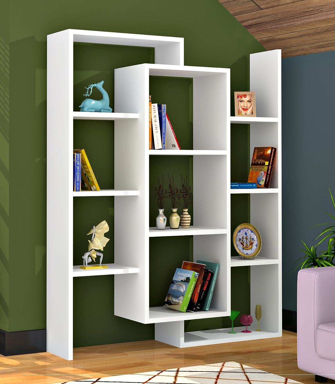 LUCE - Libreria, colore: bianco, scaffali per decorazione soggiorno ...