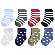 Luvable Friends Baby Basic Socks, Black And Blue Stars 8Pk, 0-6 Months