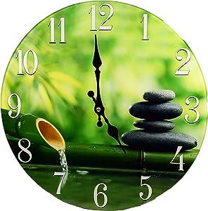 "Sea Creations Zen Bamboo 13"" Glass Clock"