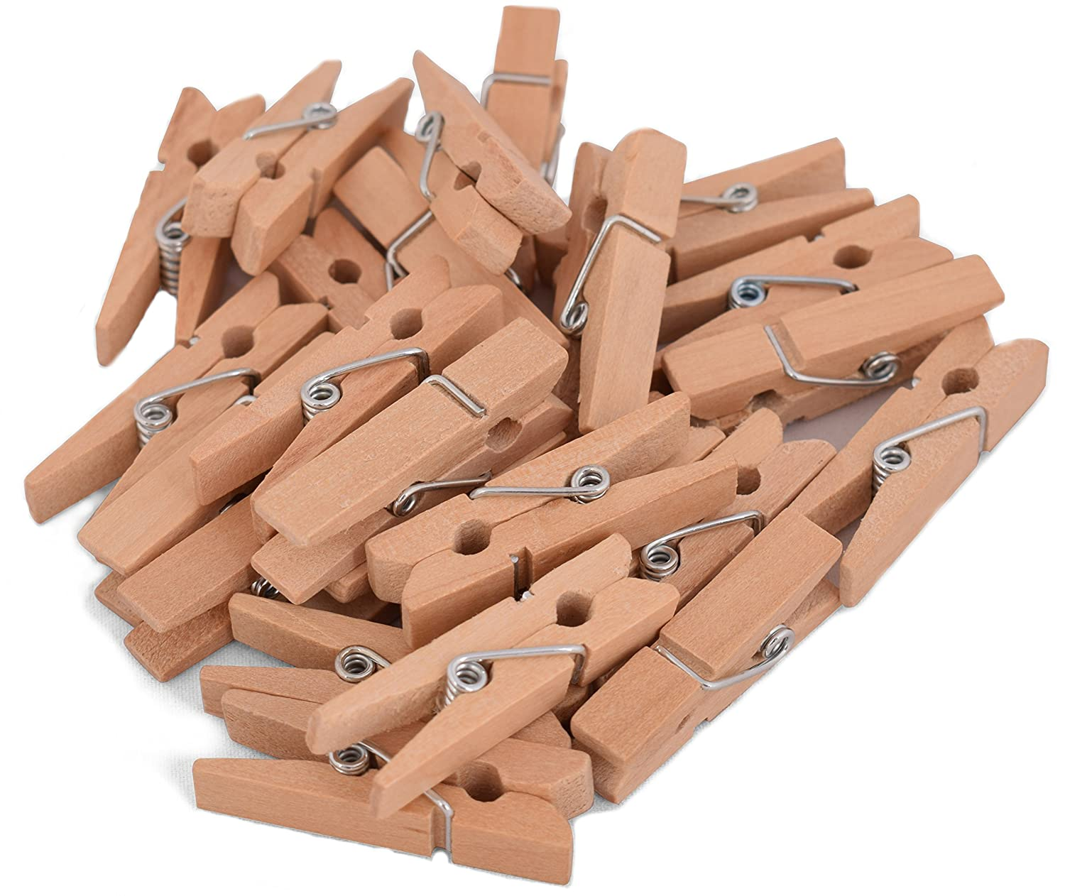 100-Pack of 1 3/8 Inch (35mm) Small Clothespins Wood. Mini Natural Wooden Clothes pins for Home School Arts Crafts Decor DIY Screen, Tiny Clothespins Photo Paper Peg Pin Craft Clips Maks Guzz