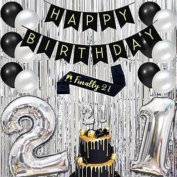 Decoraciones Para Cumpleaños Número 21 Plateado Y Negro Con
