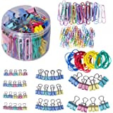 240 Pcs Binder Clips, Paper Clips, Rubber Bands, Paper Clamps Assorted 3 Sizes, Paper Binder Clips Metal Fold Back Clips…