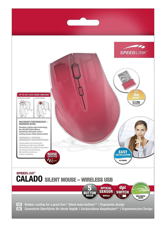Speedlink Calado Silent RF inalámbrico Óptico 1600DPI Mano Derecha Rojo - Ratón (Mano Derecha, Óptico, RF inalámbrico, 1600 dpi, Rojo): Amazon.es: ...