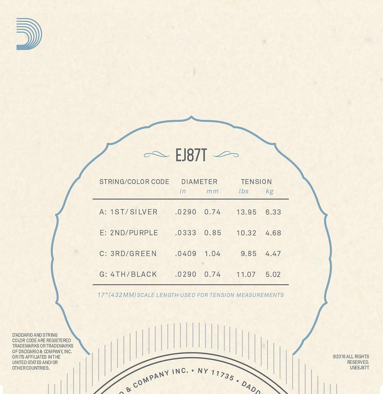 DAddario EJ87T Juego de cuerdas para ukelele tenor de titanio