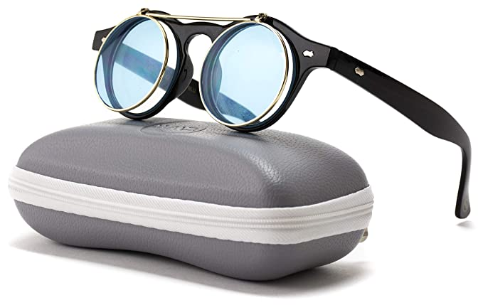 3ef772985 Image Unavailable. Image not available for. Color: Flip up Cyber Steampunk Round  Circle Retro Sunglasses