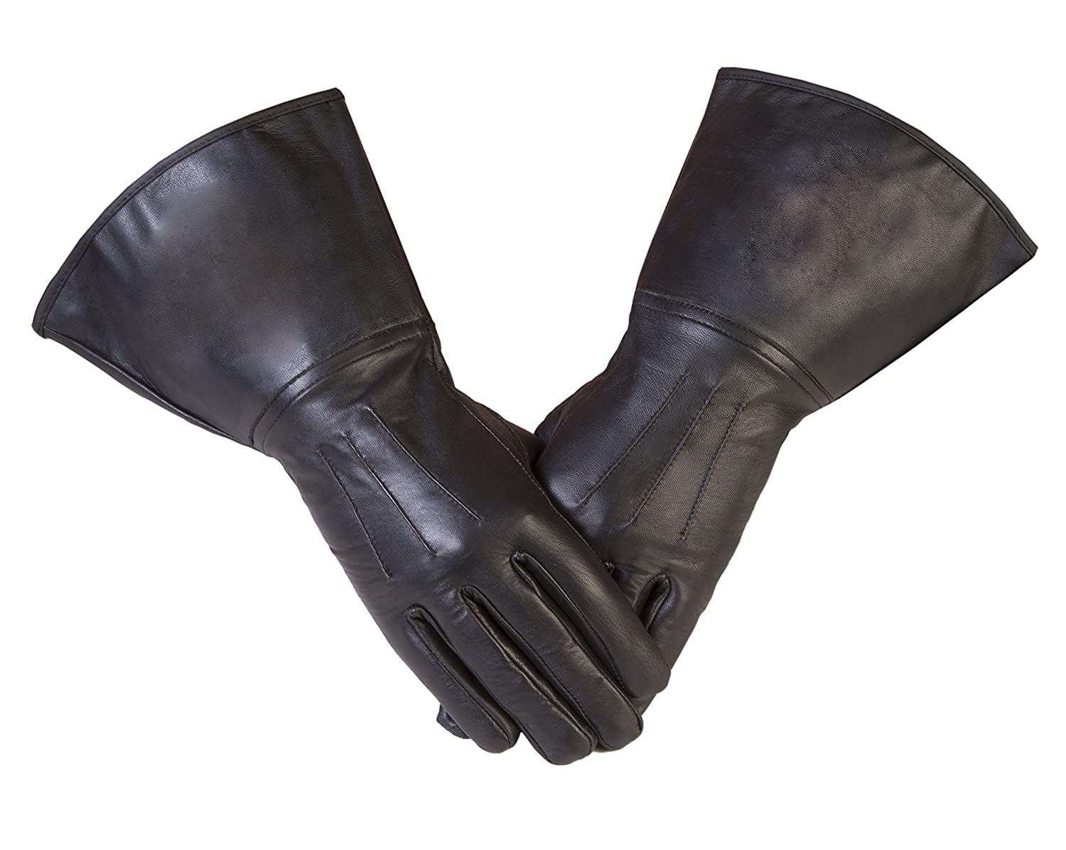 Black Gauntlet Real Leather 501st Approved Gloves with Three Darts (M-9)