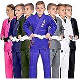 Elite Sports Kids BJJ GI, Youth IBJJF Children's Brazilian Jiujitsu Gi Kimono W/Preshrunk Fabric & Free Belt (See…