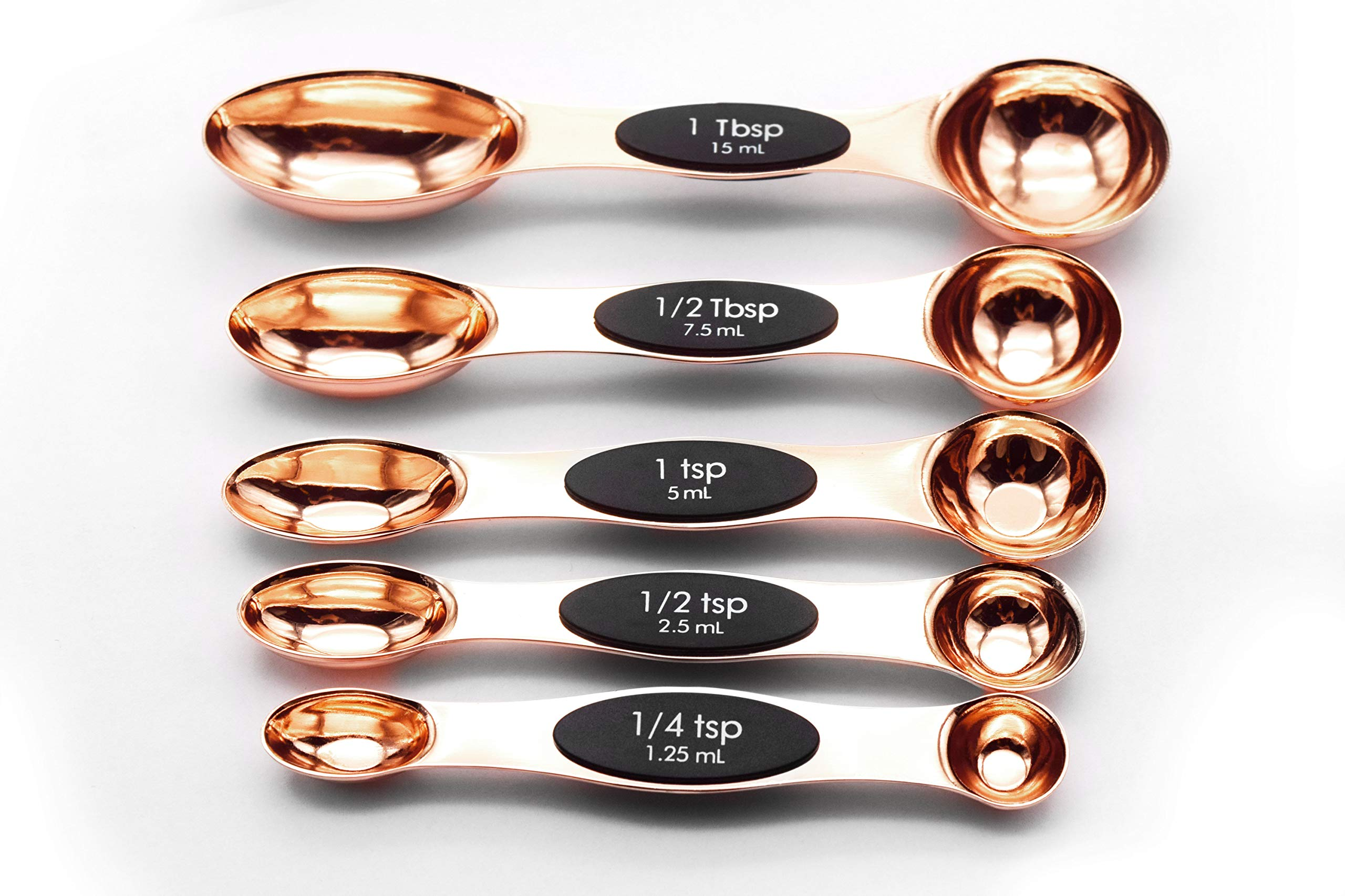 Magnetic Stainless Steel Measuring Spoons, Set of 5, Rose Gold Multifunctional Teaspoon and Tablespoon BPA Free Double End Nesting for Home Kitchen,Baking Supplies, Cooking Tools, A Lovely Gift