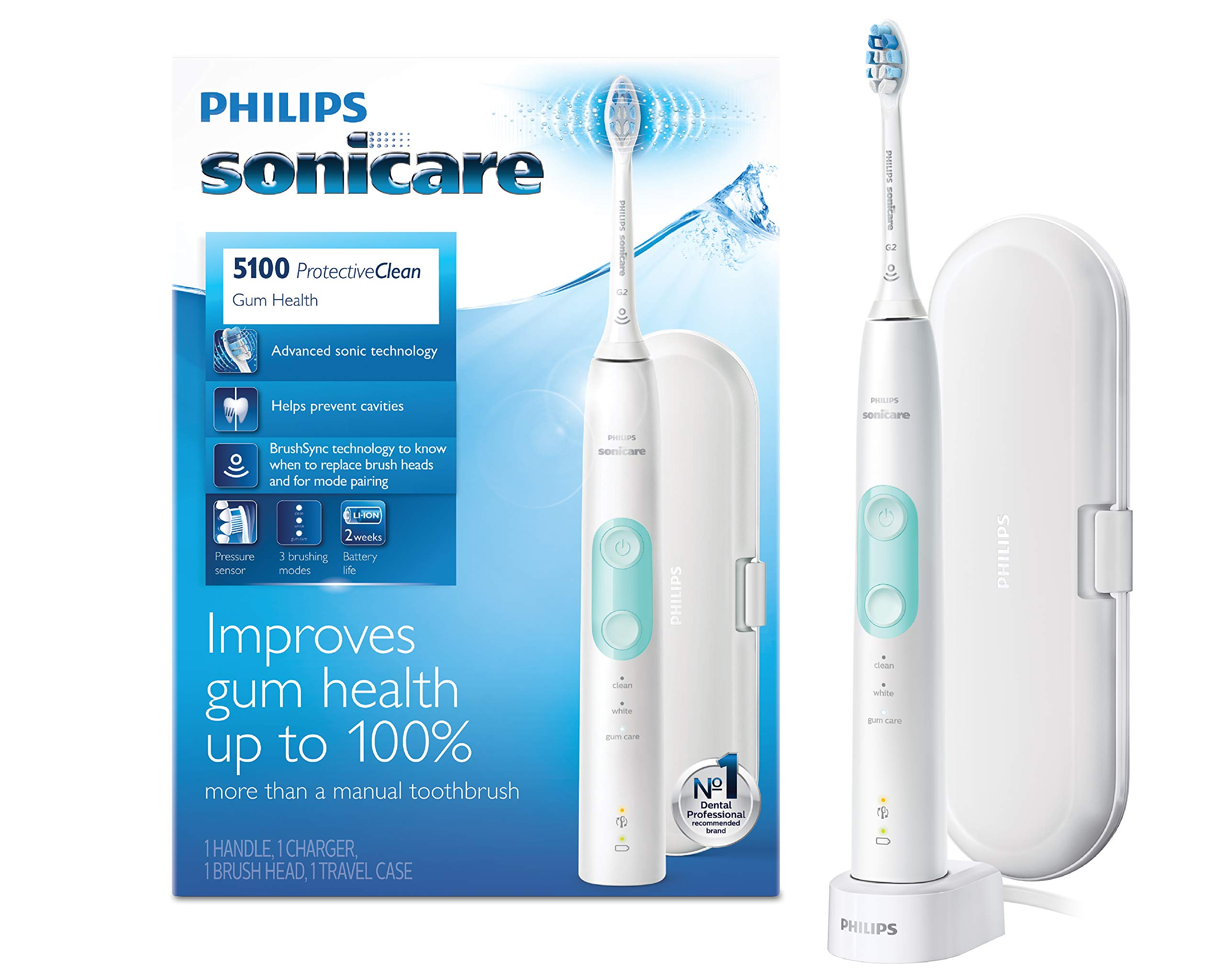 Philips Sonicare ProtectiveClean 5100 Gum Health, Rechargeable electric toothbrush with pressure sensor, White Mint ,HX6857/11