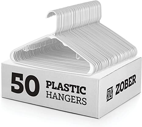 50-Pack plastic hangers 16.5x8.5 White Notched Durable Hangers