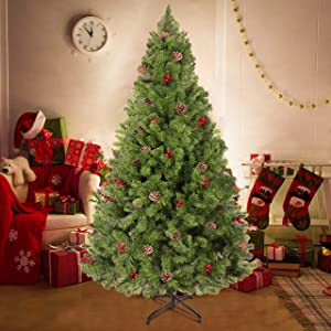 Herphia 6FT Artificial Christmas Tree,800 Branch Tips and Sturdy Metal Stand Xmas Pine Tree with pinecones and Berries for Christmas Holiday Decoration Indoor and Outdoor, House, Office, School