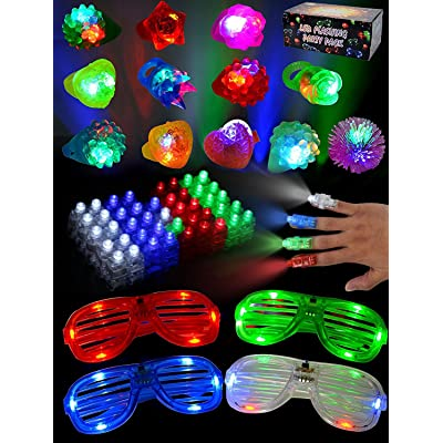 JOYIN 60 Pieces LED Light Up Toy Glow in the Dark Party Supplies, Party Favors for Kids with 44 LED Finger Lights, 12 LED Flashing Bumpy Rings and 4 Flashing Slotted Shades Glasses: Toys & Games