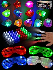 JOYIN 60 Pieces LED Light Up Toy Glow in the Dark Party Supplies, Party Favors for Kids with 44 LED Finger Lights, 12 LED Fla
