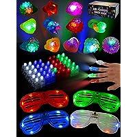 JOYIN 60 PCs LED Light Up Party Favors includ 44 LED Finger Lights, 12 LED Flashing...