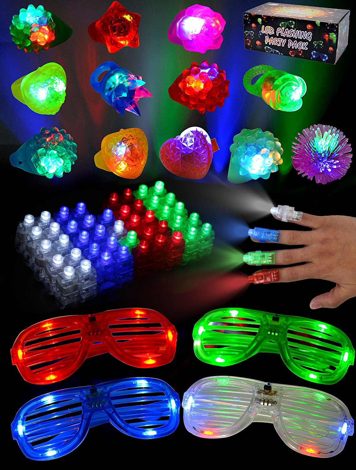 Joyin Toy 60 Pieces LED Light Up Toy Glow in the Dark Party Supplies, Party Favors for Kids with 44 LED Finger Lights, 12 LED Flashing Bumpy Rings and 4 Flashing Slotted Shades Glasses