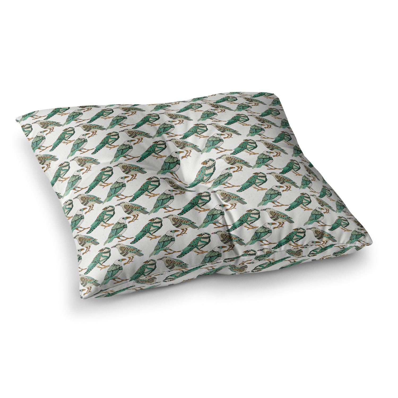 Kess InHouse Pom Graphic Design Hey Little Birds Black Teal Illustration 23 x 23 Square Floor Pillow