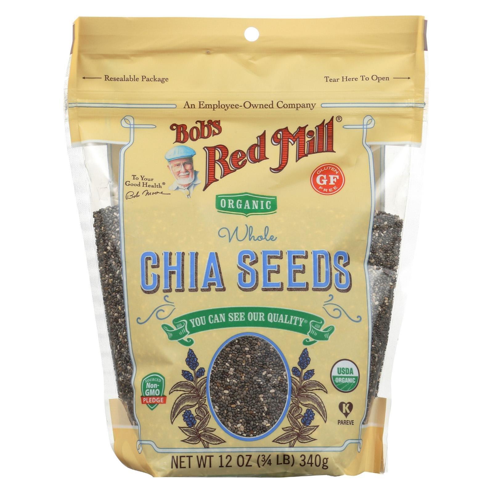 BOB'S RED MILL, Organic Seeds, Chia, Pack of 6, Size 12 OZ, (Gluten Free Kosher 95%+ Organic)