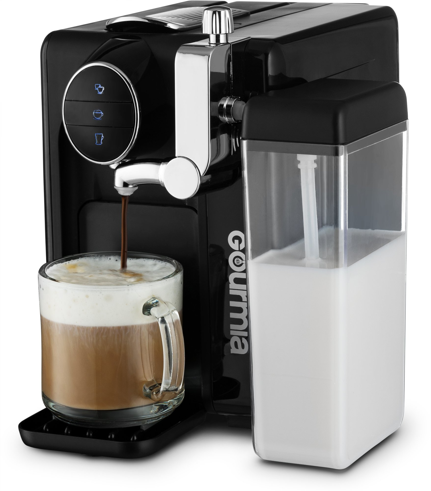 Gourmia GCM6500 One Touch Automatic Espresso Cappuccino & Latte Maker Italian engineered and components Coffee Machine Froth Milk In Cup with the Push of One Button Nespresso Compatible