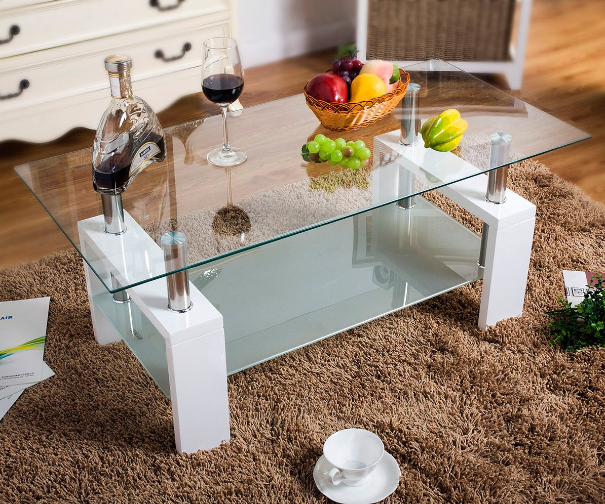 Merax Contemporary Coffee Tea Table with Glass Top and Wooden Legs (White)