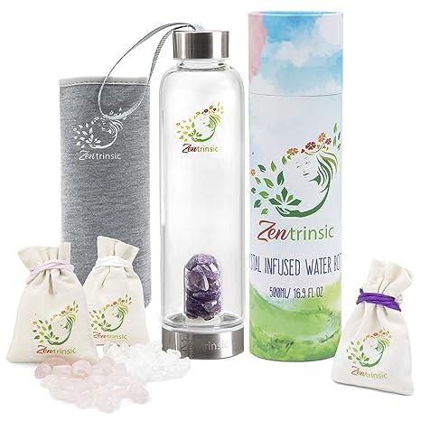 Amazon.com: Crystal Elixir Botella de agua de vidrio con ...