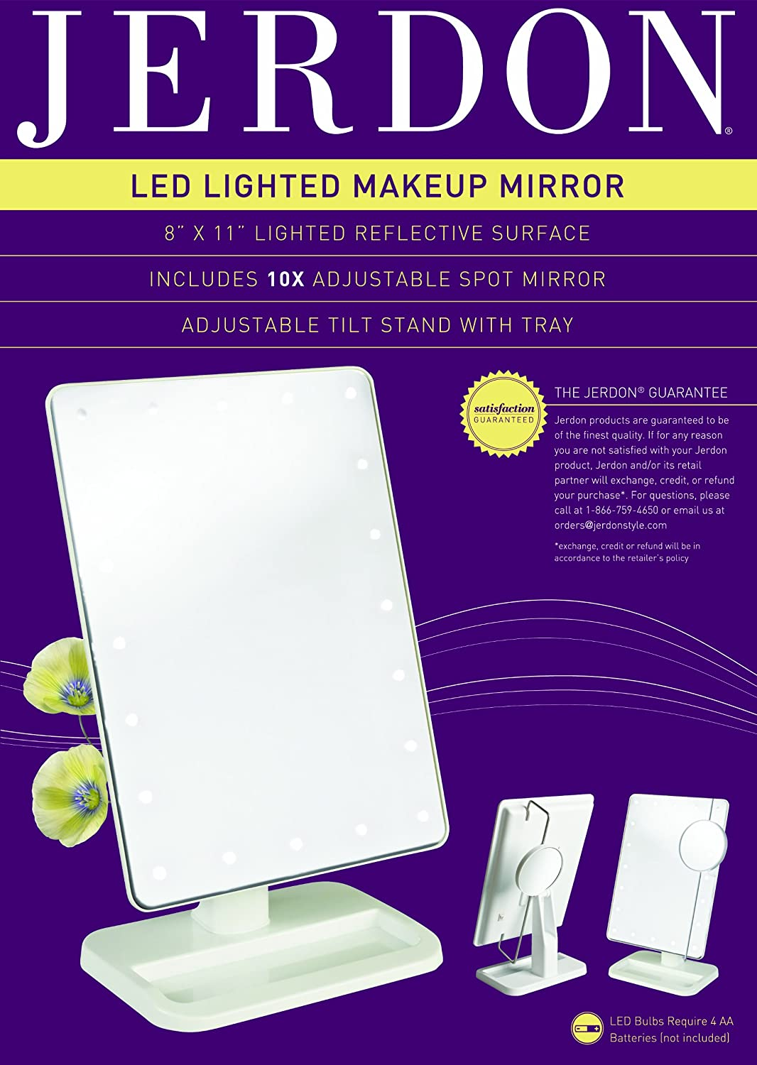 Amazon.com : Jerdon JS811W 8 Inch By 11 Inch Rectangular LED Lighted Vanity  Mirror With 10x Magnification Spot Mirror, White Finish : Personal Makeup  ...