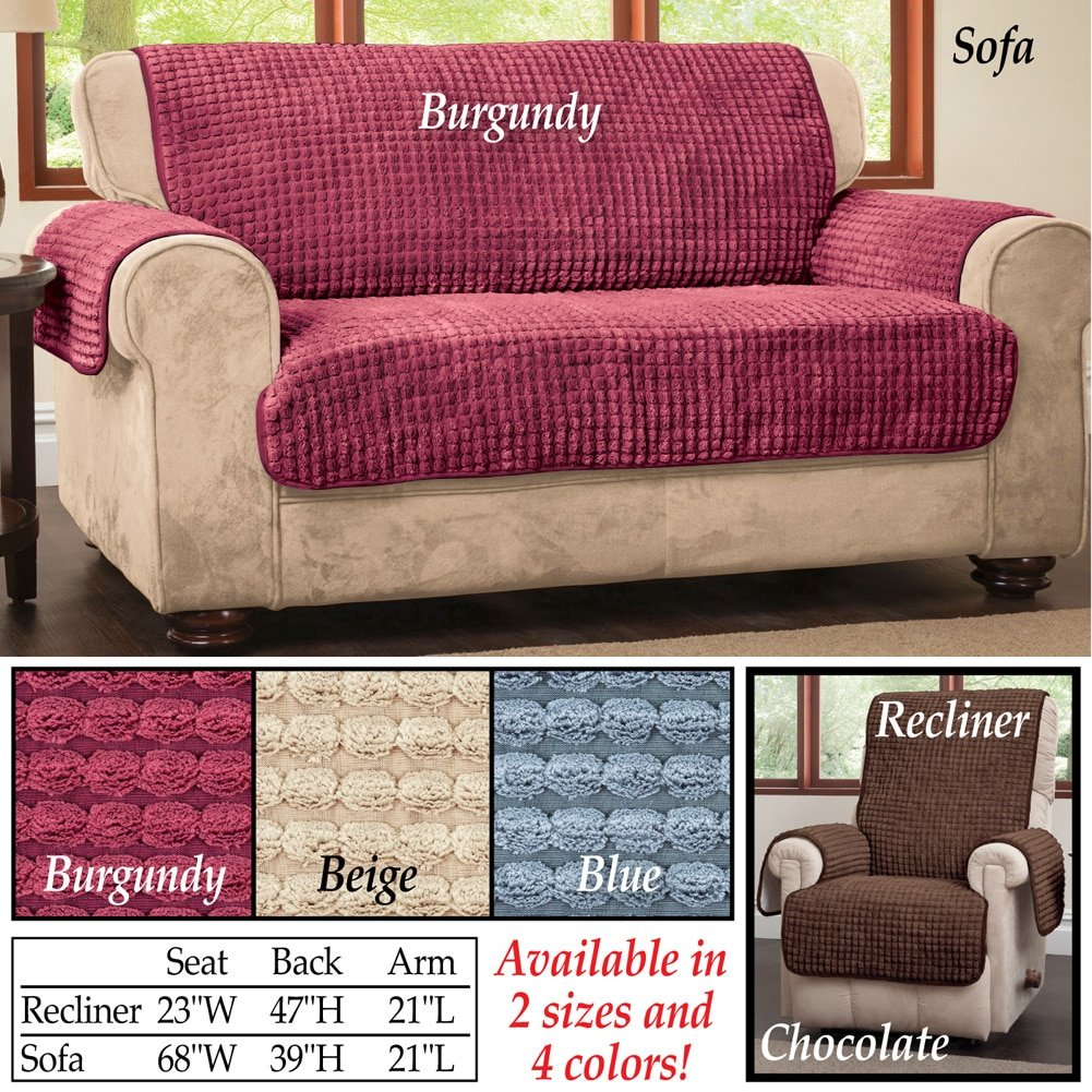 Chenille Quilted Furniture Protector Cover, Chocolate, Sofa