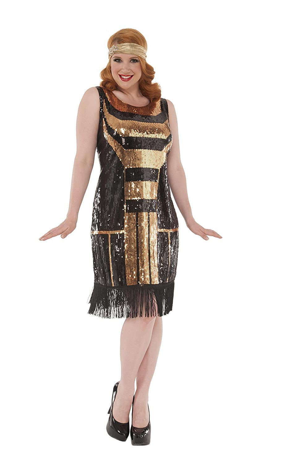 Amazon.com Delicious Sequin Front Pull Over Dress Gatsby, Multi, 1X  Clothing