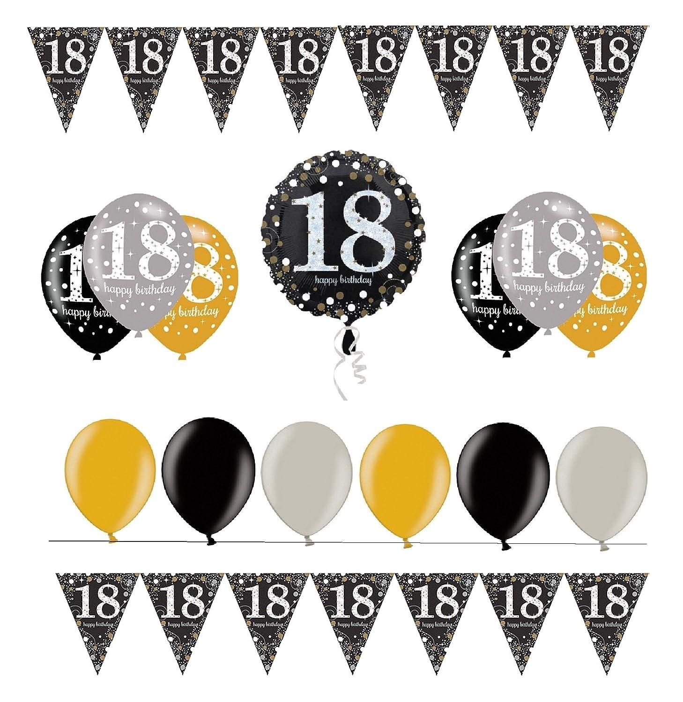 Decorazione FesteFeiern® completa per il 18°.Set di decorazione completo per il 18°compleanno, 31pezzi di colore oro, nero e argento, con palloncini. Amscan Partyzone