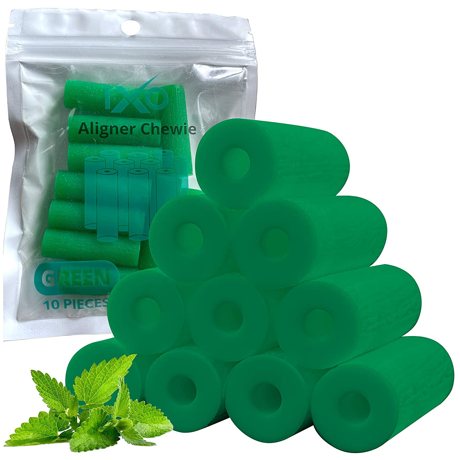 IXO Aligner Seater Chewies for Invisalign Aligners, Mint Scent, Bulk Pack in Resealable Bag (10 PCs) (Green) : Beauty