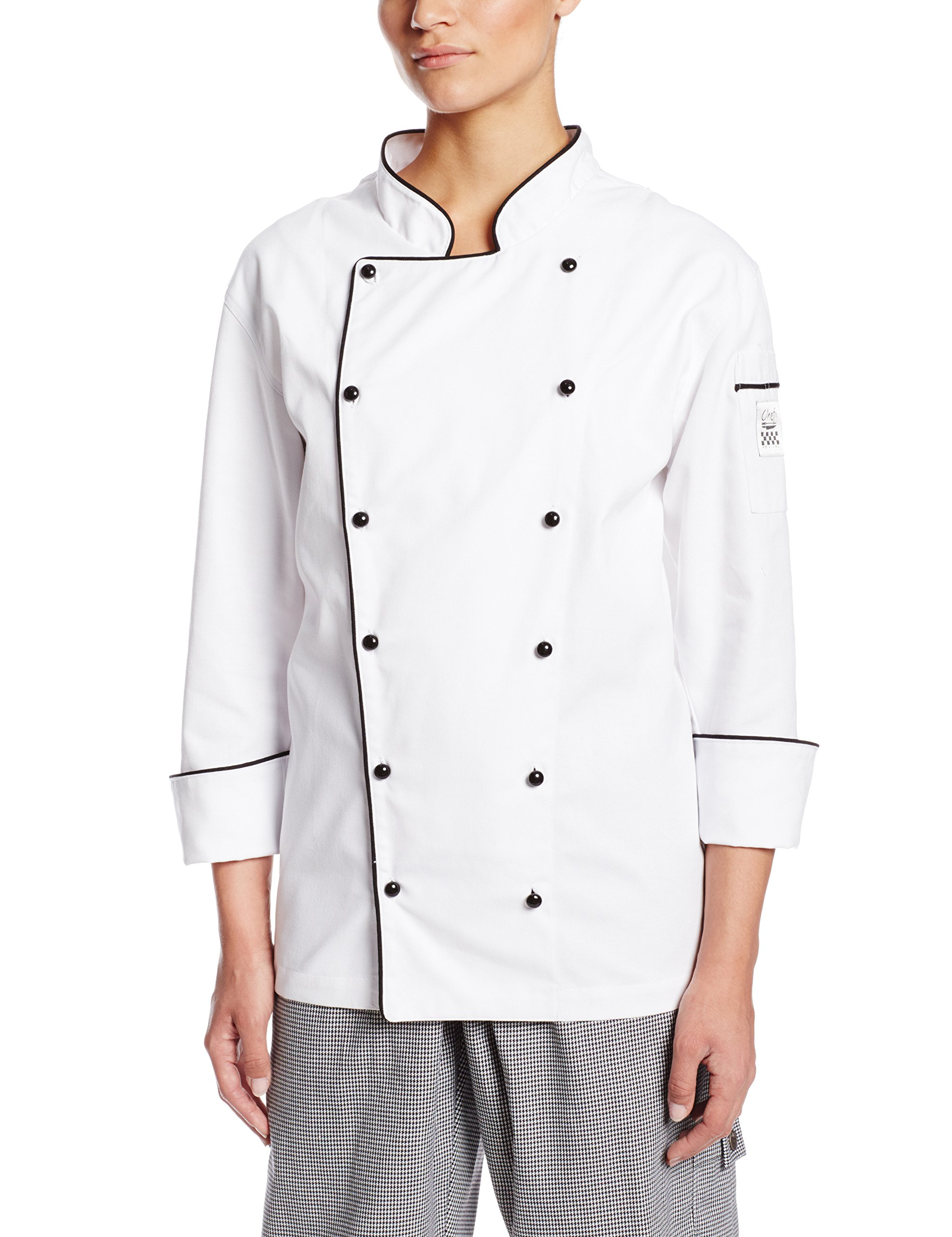 Chef Revival LJ044 Chef-tex Poly Cotton Ladies Brigade Jacket with Black Piping and Push Through Button, Medium, White by Chef Revival
