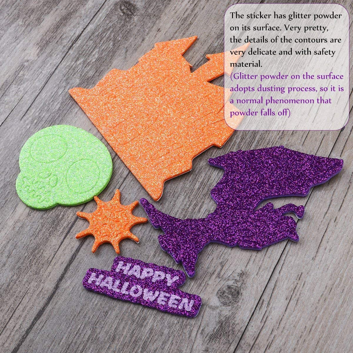 Halloween Glitter Foam Craft Stickers Halloween Bedroom Decor Assorted Foam Craft Stickers for Halloween, 500 Pieces