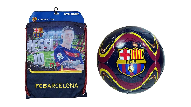 FC Barcelona producto oficial de balón de fútbol y Cinch Bag Combo ...