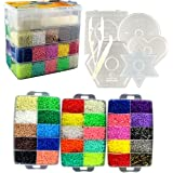 30,000 Fuse Beads - Deluxe Hama Bead Kit Includes 10 Pegboards, Tweezers, Ironing Paper, Travel Case (30,000)