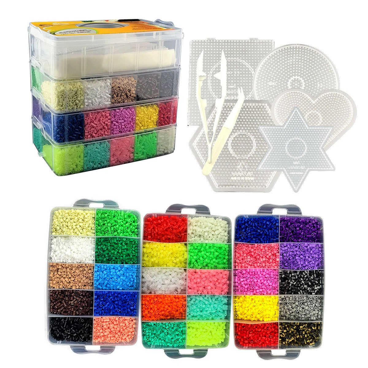 Little Visionary 30,000 Fuse Beads - Deluxe Hama Bead Kit Includes 6 Pegboards, Tweezers, Ironing Paper, Travel Case (30,000) by Little Visionary