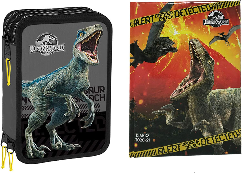 Jurassic world. Gut - Estuche Escolar de 3 Pisos con Cremallera + Diario + Llavero Silbato + bolígrafo de Colores: Amazon.es: Deportes y aire libre
