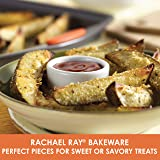 Rachael Ray 56524 Nonstick Bakeware Set with Grips, Nonstick Cookie Sheets / Baking Sheets - 3 Piece, Gray with Orange Grips