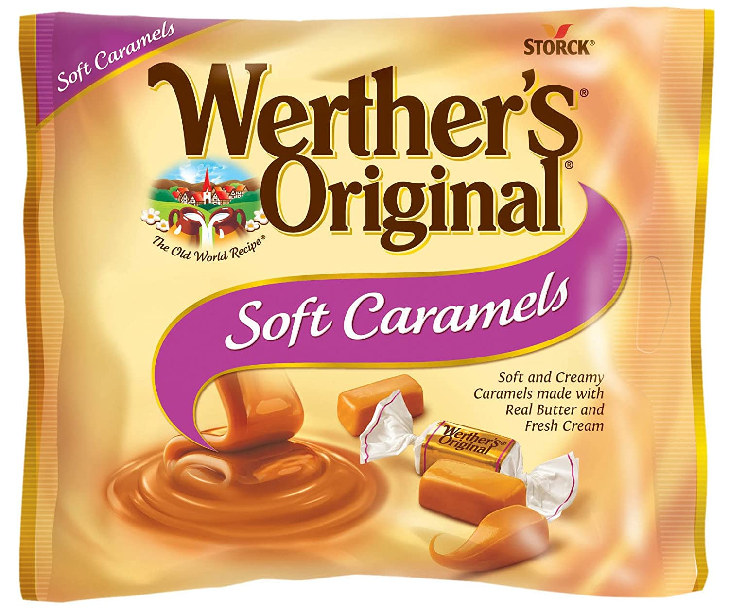 WERTHER'S ORIGINAL Soft Caramels, 8 10 Ounce Bag, Individually Wrapped  Candy Caramels,
