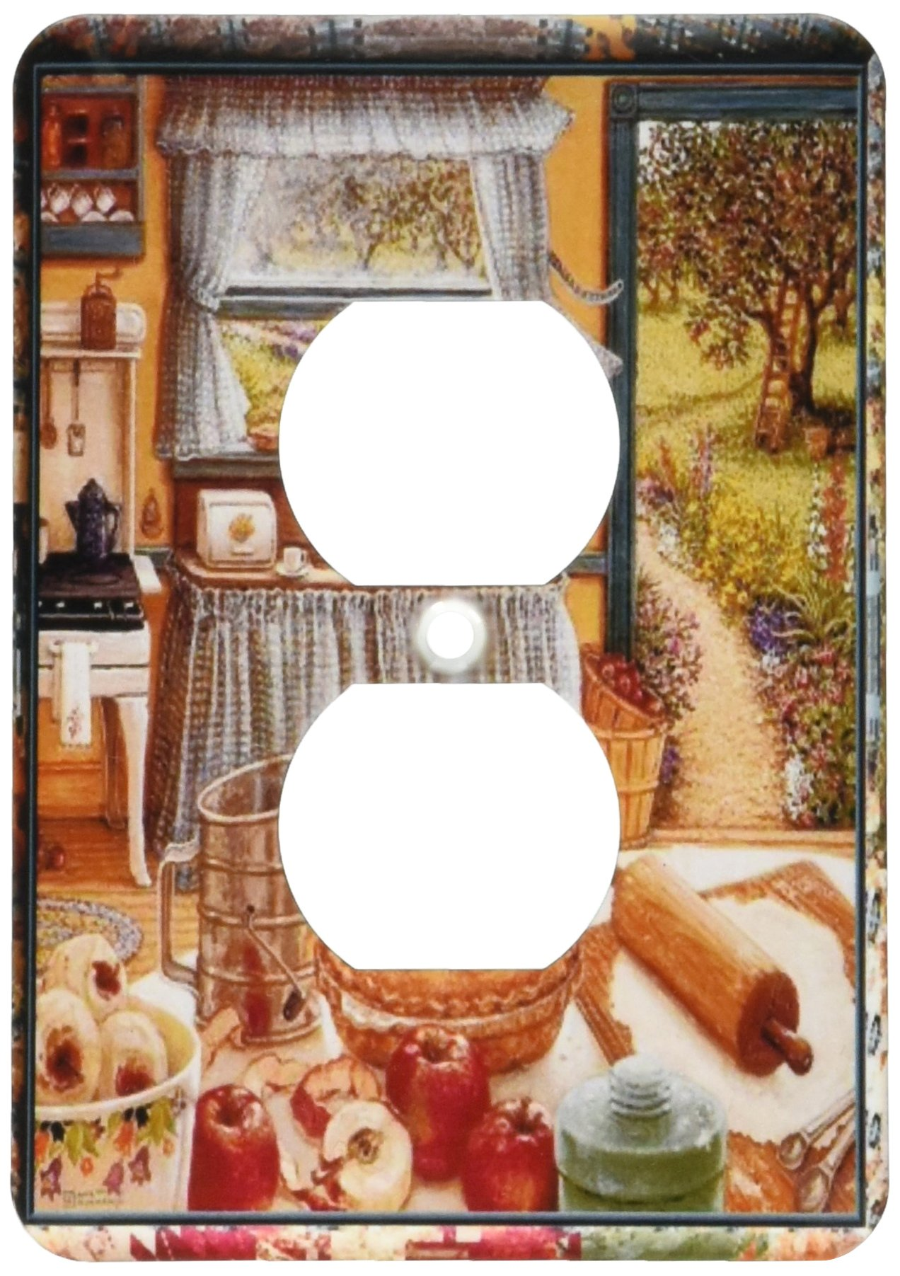 3dRose lsp_167215_6 Home Cooking and Country Art, Apple Pie and Kitchen Art Light Switch Cover