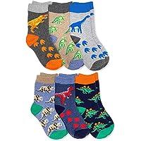Jefferies Socks Boy's Dinosaur Pattern Cotton Crew Socks 6 Pack, Multi