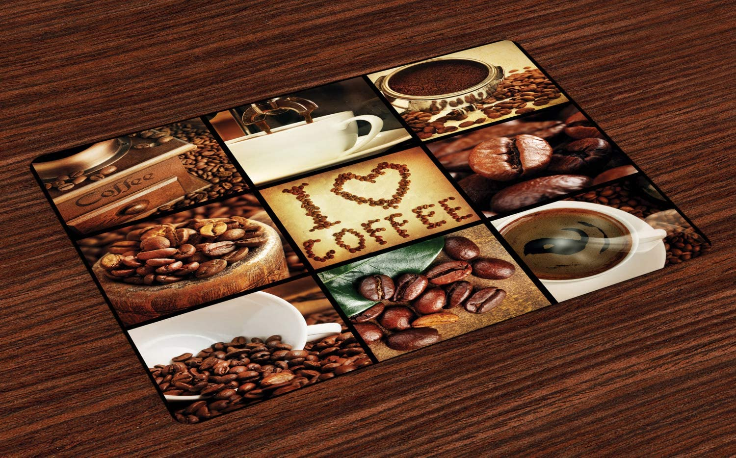 Lunarable Brown Place Mats Set of 4, I Love Coffee Theme Collage Roasted Beans Brewing Machines and Cups Aromatic Drink, Washable Fabric Placemats for Dining Room Kitchen Table Decor, White Brown