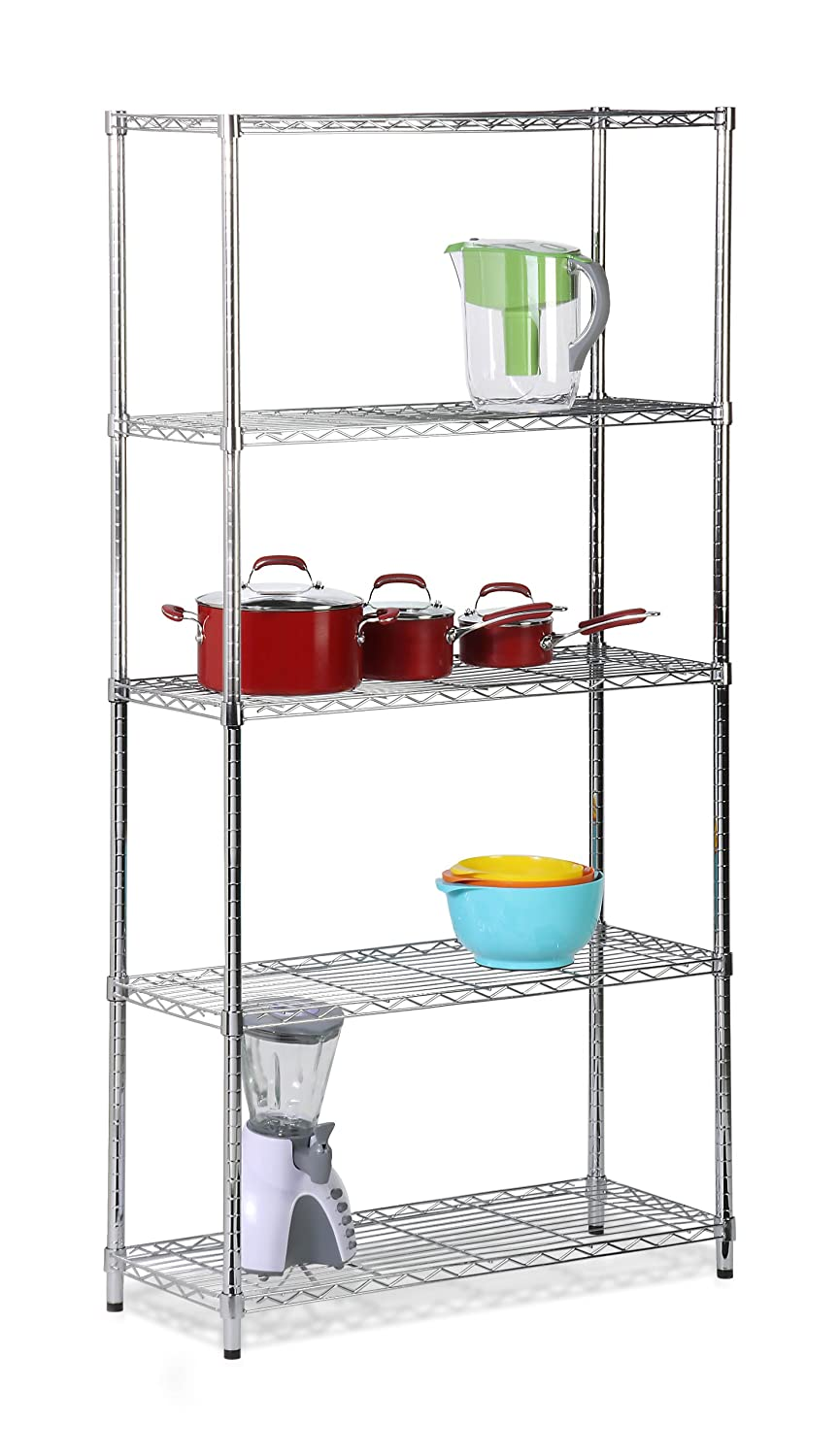 Honey-Can-Do SHF-01443 Adjustable Industrial Storage Shelving Unit, 200-Pounds Per Shelf, Chrome, 5-Tier, 36Lx14Wx72H