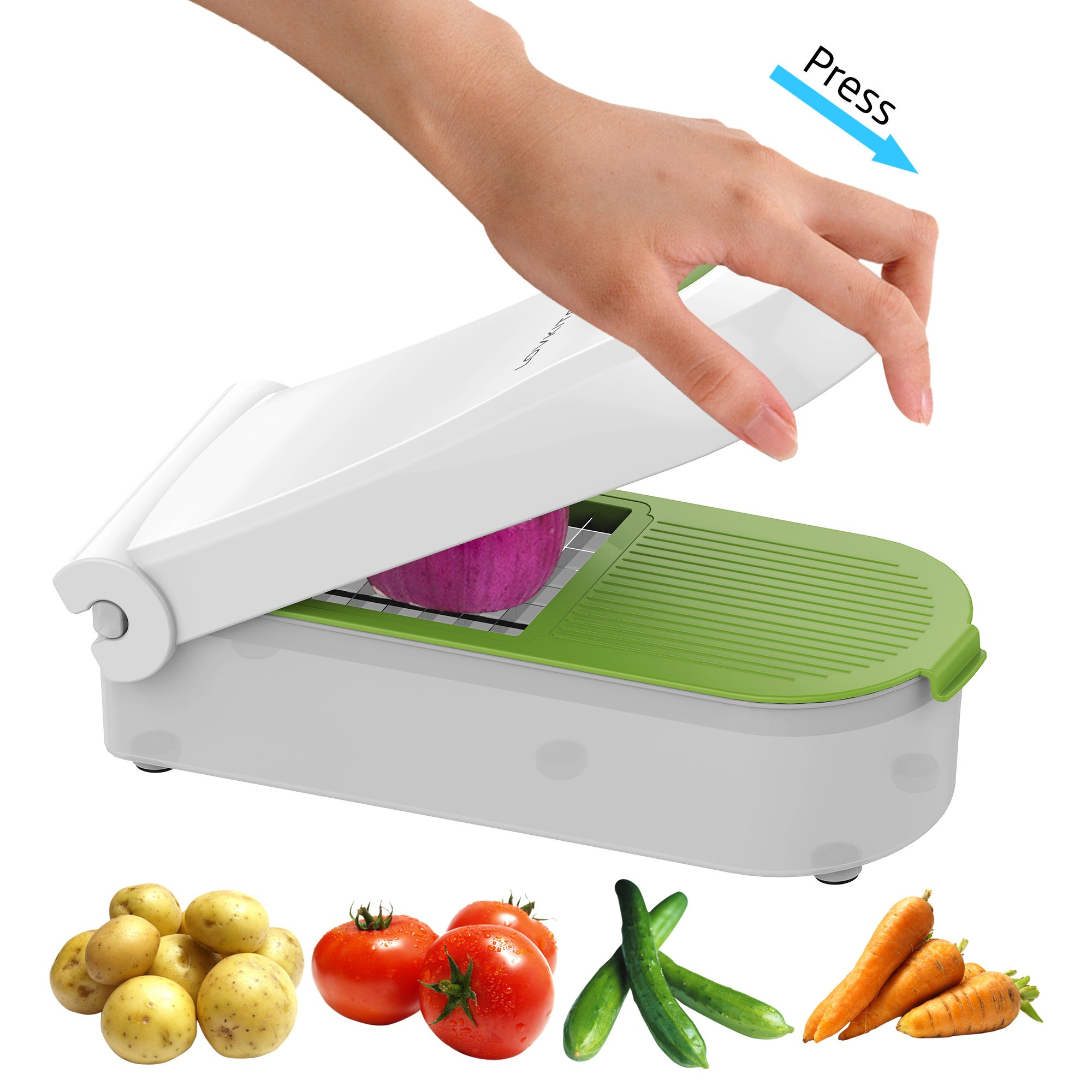Vegetable Chopper Dicer Slicer Cutter Manual / Vegetable Grater with 5 Stainless Steel Blades - LOVKITCHEN Multi-functional Adjustable Vegetable & Fruit Chopper Dicer with Storage Container
