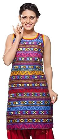 791d5e563cb In-Sattva Womens Indian Ethnic Kurta Tunic Multi Print at Amazon ...