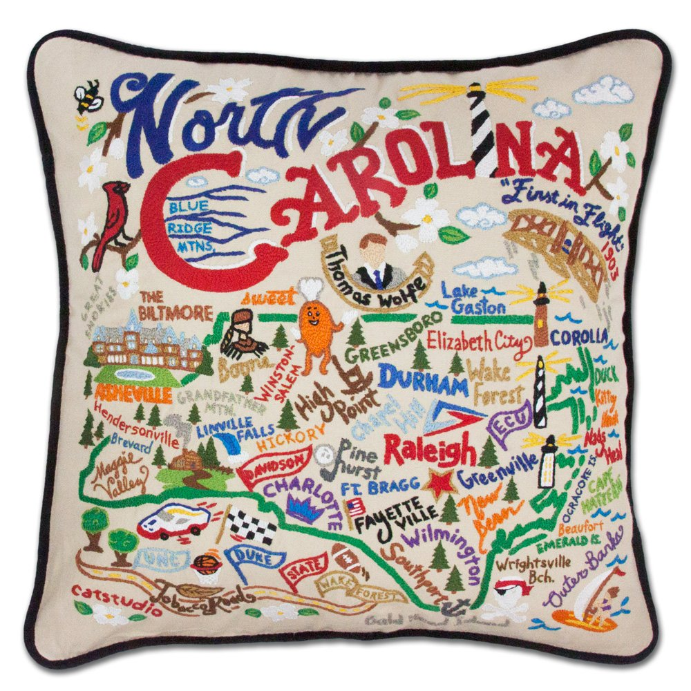 North Carolina State Pillow by Catstudio by Catstudio