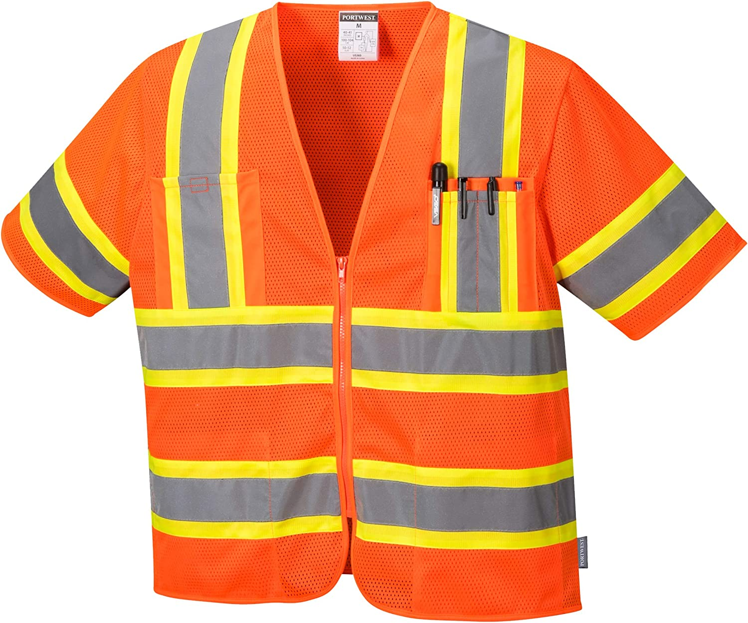 - 100/% Polyester High Visibility Portwest Augusta Sleeved Hi-Vis Vest Jacket for Men Pair