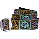"""Bison Designs Manzo 38mm Ladies Lotus Design Embroidered Belt, Small to 34"""", Handcrafted Muli"""