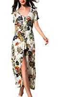 ARANEE Women's Button Up Split Floral Print Long Maxi Boho Bohemian Dress