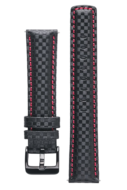 Signature Carbon腕時計バンド。交換用時計ストラップ。Genuineレザー。ブラックバックル 24 mm extra-long ブラック と レッド 24 mm extra-long ブラック と レッド ブラック と レッド 24 mm extra-long B01N4GLDE1